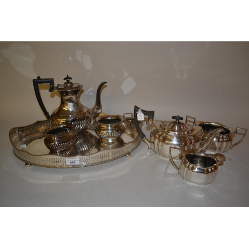 662 - Oval silver plated two handled tray and two silver plated three piece teasets...