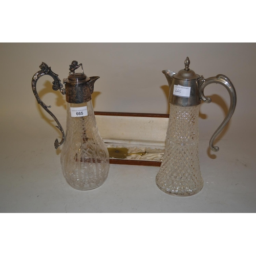 665 - Early 20th Century etched glass claret jug with plated mounts, a French cake slice in original box a...