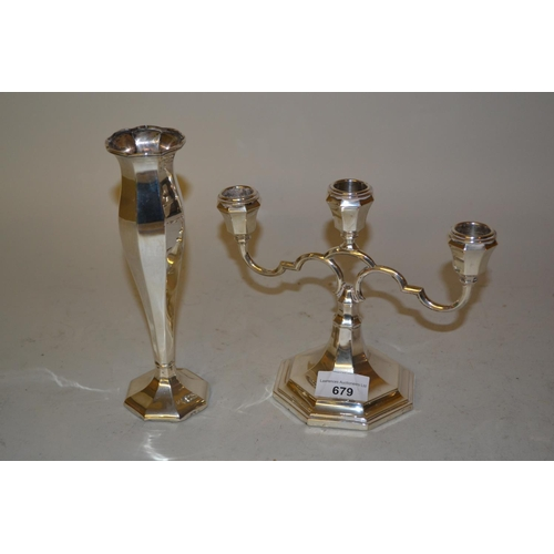679 - Continental (800 mark), three light candelabra and a similar specimen vase...