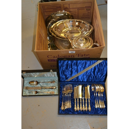 680 - Cased set of six Continental silver plated knives, forks and spoons, cased W.M.F. knife, fork and sp...
