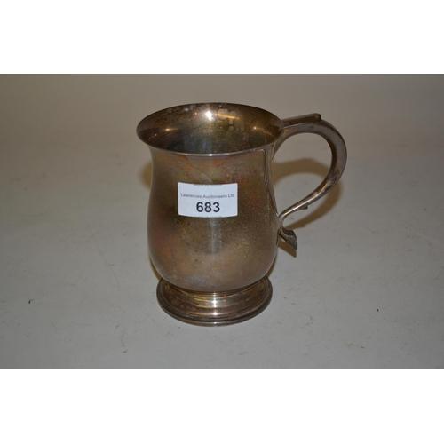 683 - 20th Century Birmingham silver mug with C-scroll handle...