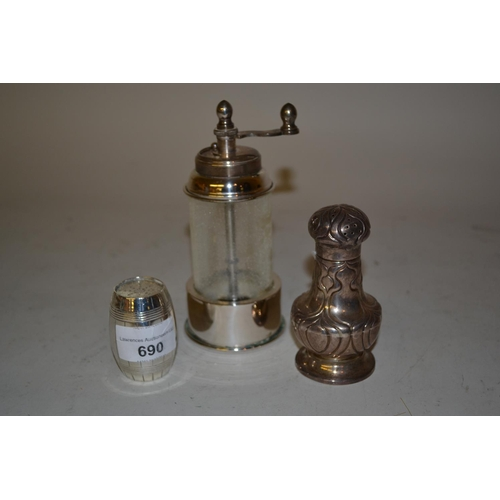 690 - Victorian London silver pepper in the form of a barrel, Birmingham silver Art Nouveau style pedestal...