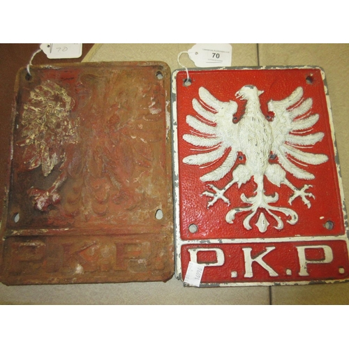 70 - Two Polish railway cast iron plaques, each with relief moulded spread eagle design and cast P.K.P....
