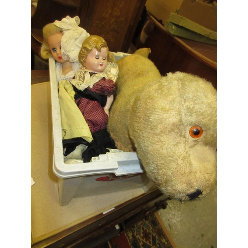 76 - Two composite headed dolls, together with two soft toys (at fault)...