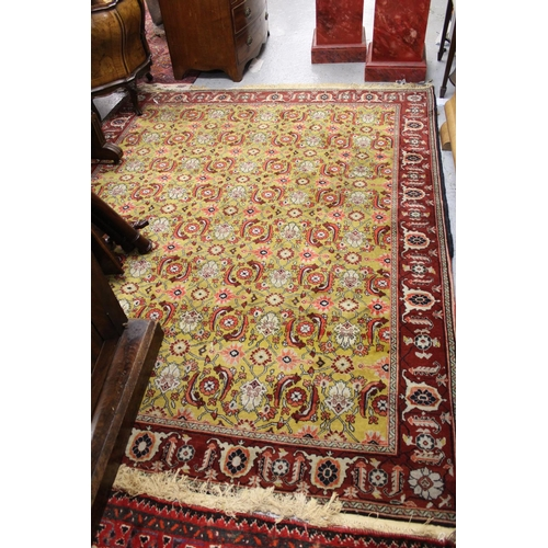 8 - Mid 20th Century North East Persian rug with an all-over Herati design on mustard ground with border...