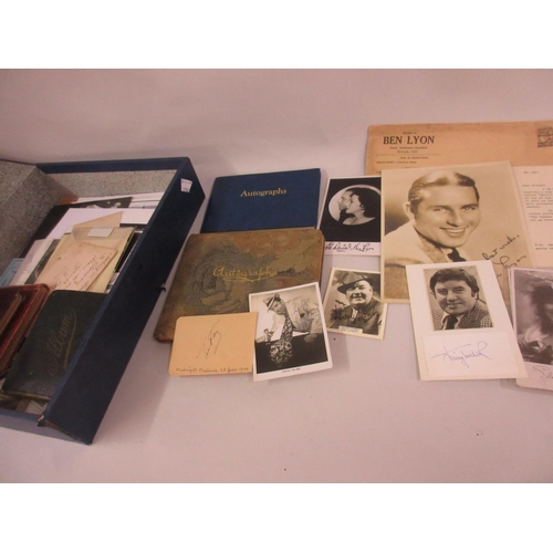 84 - Box file containing a collection of autograph books and celebrity photographs, some signed, includin...