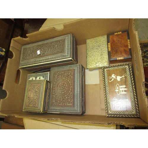90 - Collection of various Indian sandalwood mosaic inlaid and other boxes...