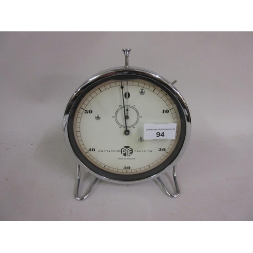 94 - Mid 20th Century chrome mounted table stop watch, the dial signed W.G. Pye and Co. Ltd., Cambridge...