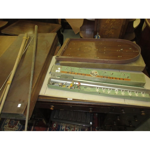 99 - Small 19th Century mahogany folding billiards game (at fault), together with a boxed table cricket g...
