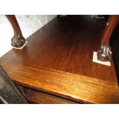 2082 - Early 20th Century oak monks bench with fold-over top...