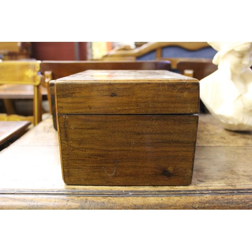 2071 - Victorian burr walnut work box together with a Victorian walnut and parquetry inlaid work box...