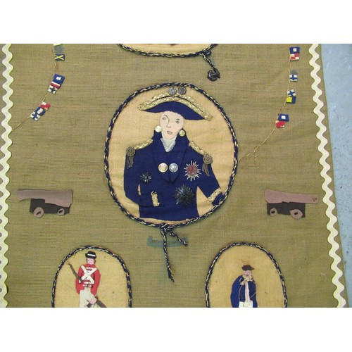 44 - Two Hessian panels commemorating H.M.S. Victory and another similar, British Monarchs and children, ...