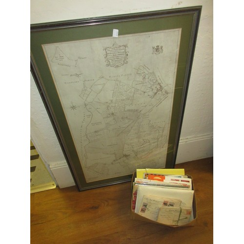 152A - Quantity of stamps together with a framed facsimile print, map of Putney...