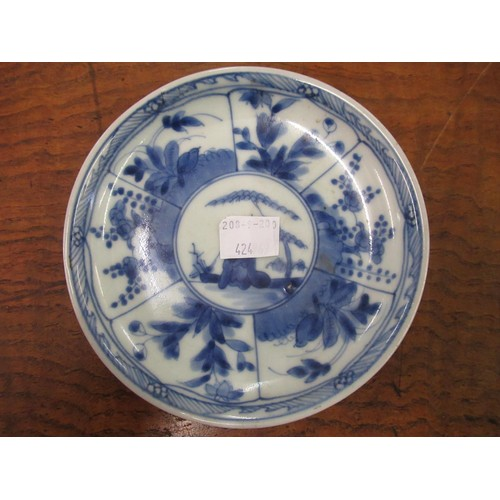 424 - Group of four various small Chinese blue and white saucers, three signed to the base...