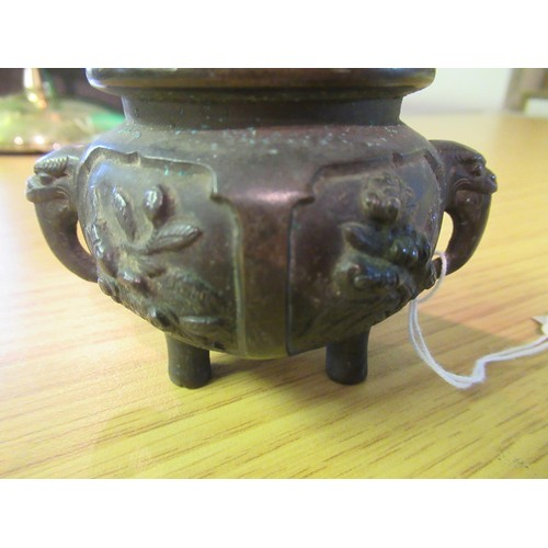 1526 - Small Chinese bronze censer having pierced cover with dog of foe mount and elephant form handles on ...