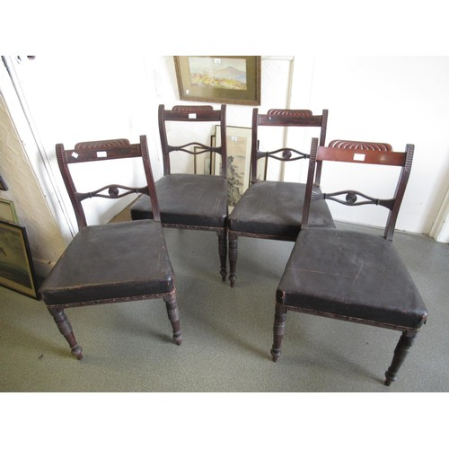1622 - Set of four Regency mahogany dining chairs with rail backs, overstuffed seats and turned tapering fr...