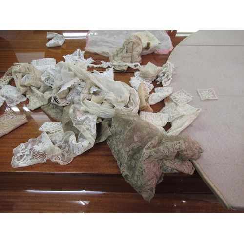 39 - Quantity of various 19th Century lace work and various table linen etc....