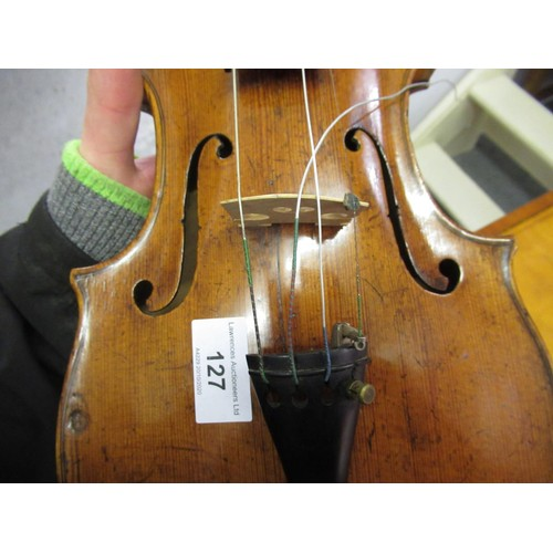127 - Antique violin with a one piece back, signed Hopf in a case with bow...
