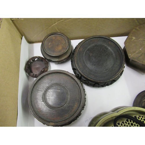 194 - Box containing a small quantity of various Chinese hardwood vase stands and a cover, bronze swing ha...
