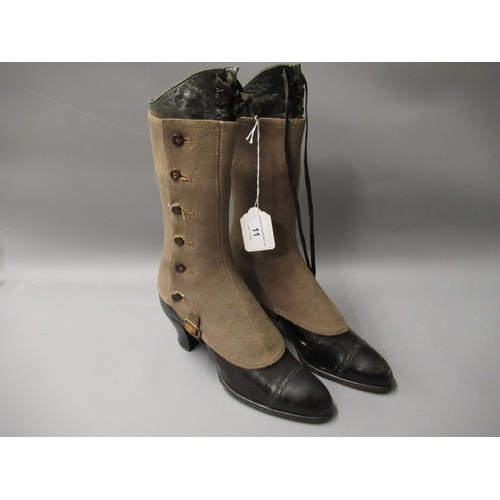 11 - Pair of Victorian black leather boots with spats...