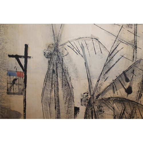 1179 - Cheong Soo Pieng, ink and watercolour, street scene, signed and dated 1960, 36ins x 16ins, framed...