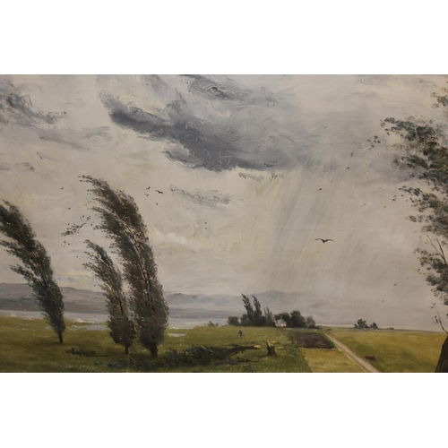 1180 - Balz Stager, oil on canvas, depicting a storm over the Lake of Zurich, signed Stager and dated 29 V ...