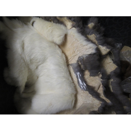 22 - Small rectangular trunk containing a collection of various fur stoles and remnants...
