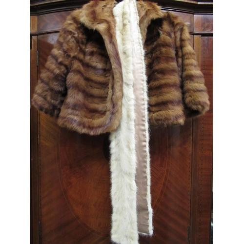 26 - Ladies three quarter length mink fur coat, mink fur stole and a pale mink stole...