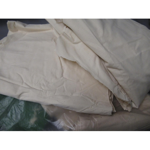 29 - One roll of pale blue upholstery fabric, a box containing a large quantity of velour and similar fab...