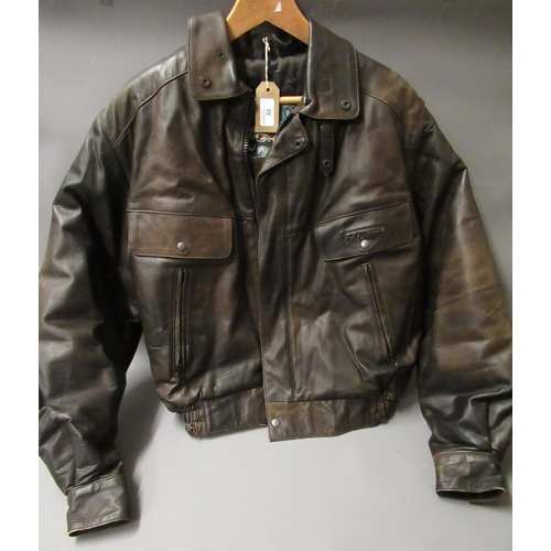 32 - Brown leather aviator style ' Barnstorm ' jacket by Frank Thomas, size 36...
