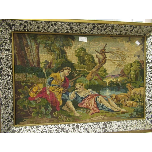 47 - Crewel work picture of birds and flowers in a simulated bamboo frame, 27.5ins x 20.5ins together wit...