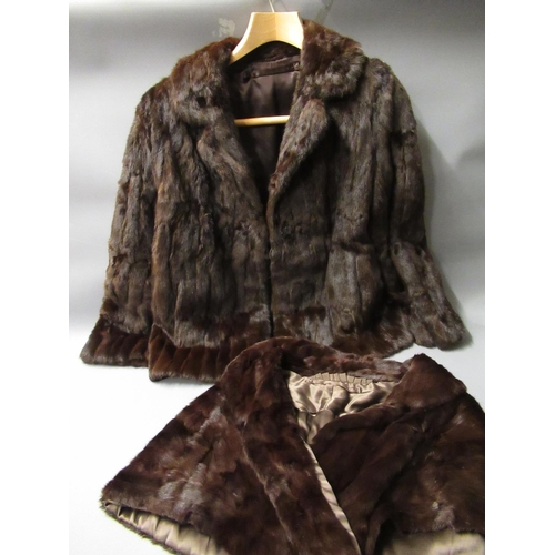 48 - Ladies mid 20th Century half length dark brown mink jacket labelled Karter, together with a similar ...