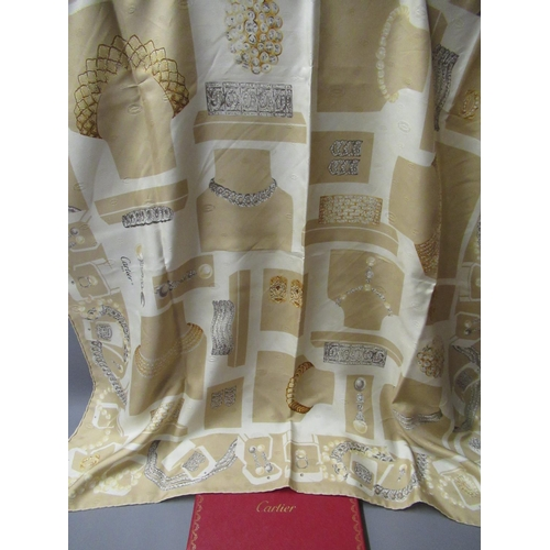 51 - Cartier, ladies beige silk scarf, 86cms x 86cms, in original box with authenticity card...