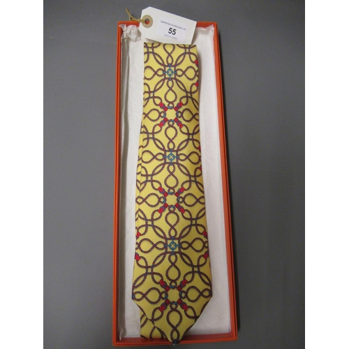 55 - Hermes yellow silk tie, in original box...