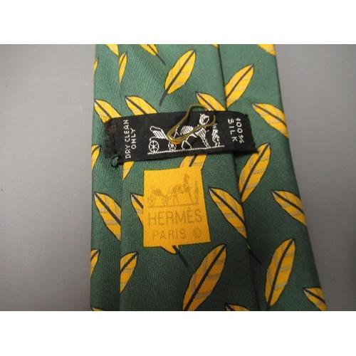 57A - Hermes green silk tie (unboxed)...