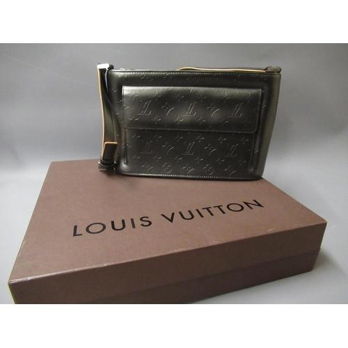 58 - Louis Vuitton charcoal leather Mat Monogram Alston shoulder bag, circa 2002, having silver tone hard...