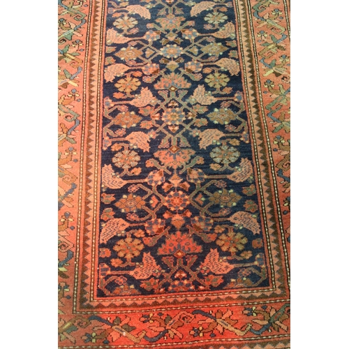 9 - Hamadan rug with all-over Herati design on a blue ground with rose ground borders, 6ft 6ins x 3ft 8i...