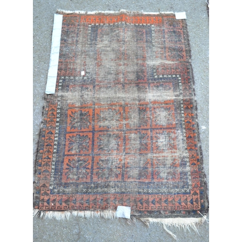 33 - Belouch Prayer rug, 4ft 4ins x 3ft approximately (some wear) and another (badly worn)