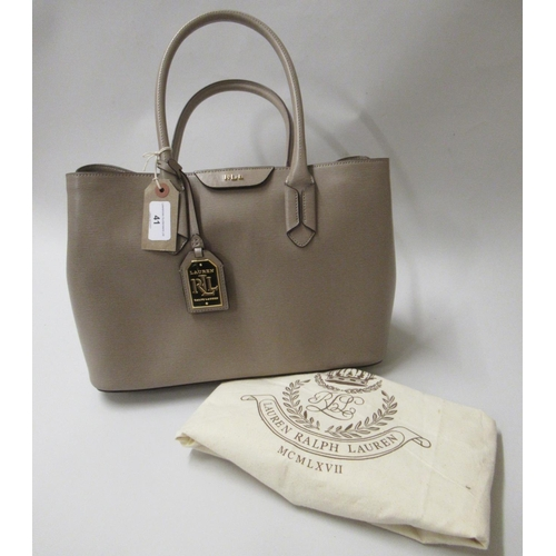41 - Lauren Ralph Lauren Tate Dome taupe leather satchel bag, complete with original dust cover
