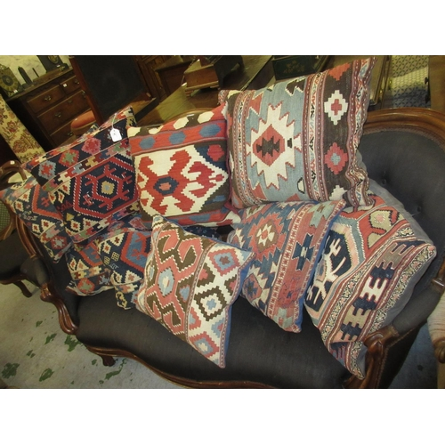45 - Group of nine various Kelim covered cushions
