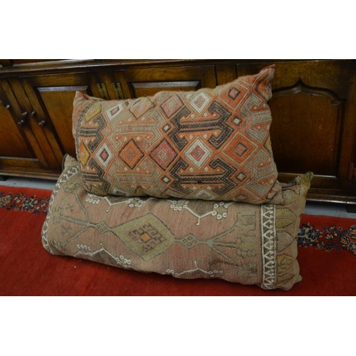 46 - Two large Kelim covered cushions and a small Kelim covered stool
