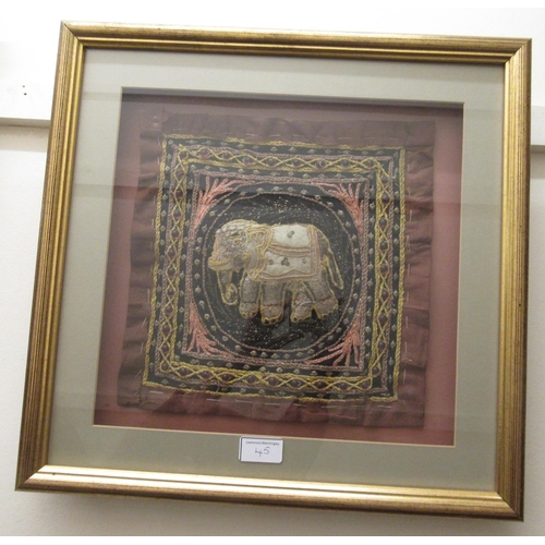45 - Large Indian sequin and thread work picture of elephants in circular stylised form, 31ins square, to...