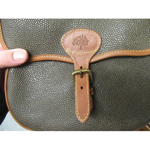 40 - Mulberry Scotchgrain leather saddle bag with tan leather trim and shoulder strap, 9.5ins wide