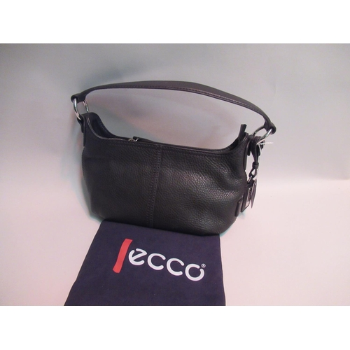 13 - Ecco black leather handbag with chrome fittings, 11ins wide, with dust bag