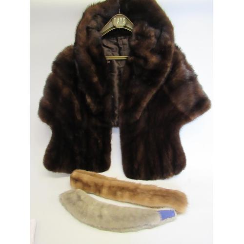 21 - Ladies dark brown mink fur cape and two fur stoles