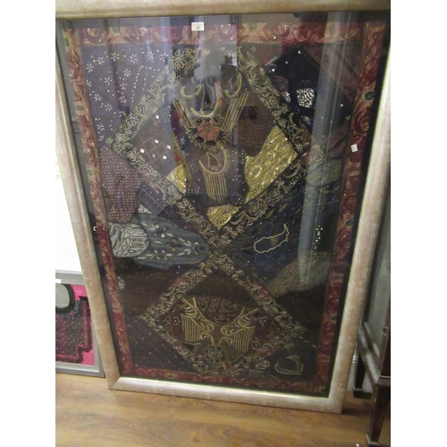 22 - Large Indian beadwork, needlework and silver gilt thread  panel, housed in a silvered gilt frame, 39...