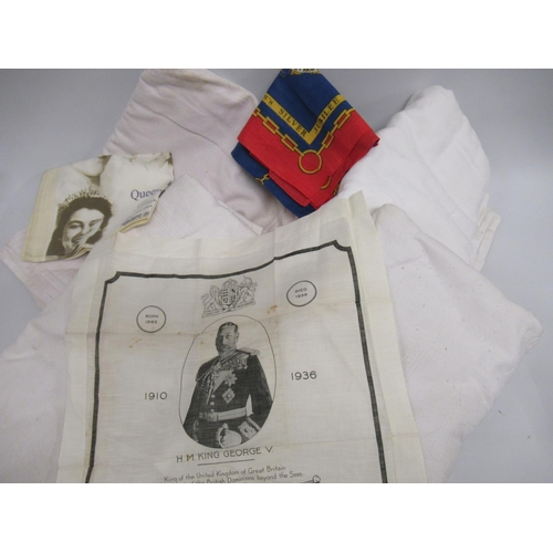 28 - Commemorative handkerchief for His Majesty King George V, four tablecloths etc