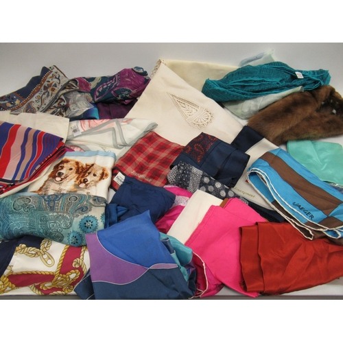 32 - Bag containing a quantity of ladies silk scarves and leather gloves, together with a small quantity ...