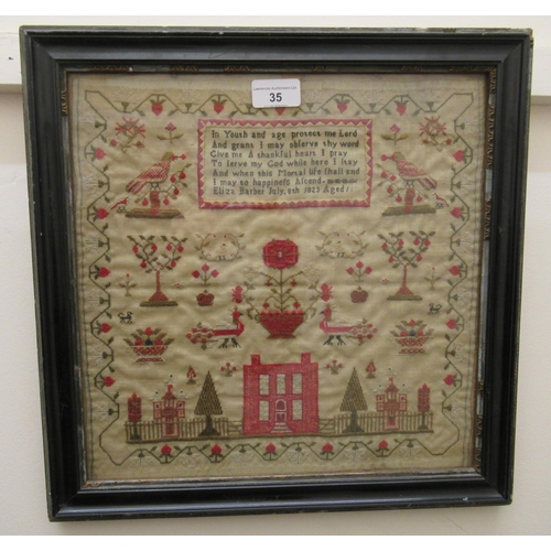 35 - Good quality early 19th Century pictorial woolwork sampler depicting house and garden, birds and flo...