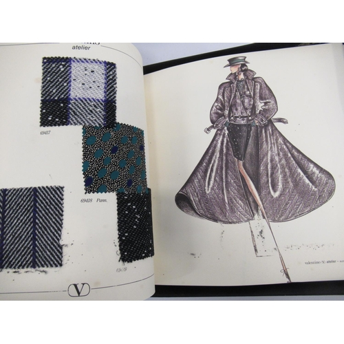 38 - Valentino design book 1987 / 88 with fabric samples, in original box (at fault ), together with a si...